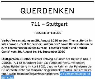 """...Ganz offensichtlich geht es dem Berliner Innensenator Andreas Geisel nicht um infektionsschutzrechtliche Befürchtungen, die seine eigene Polizeibehörde nicht teilt, sondern ausschließlich um die Gesinnung der Teilnehmer: """"Ich bin nicht bereit, ein zweites Mal hinzunehmen, dass Berlin als Bühne für Corona-Leugner, Reichsbürger und Rechtsextremisten missbraucht wird""""... ...Sie richten sich mit Ihrer Versammlung gegen die Maßnahmen der Regierung bzw. der einzelnen Landesregierungen zur Eindämmung des SARS-CoV-2 Virus, die Sie für überzogen halten. Sie sehen Ihre Freiheitsrechte dadurch unverhältnismäßig eingeschränkt, was mit einer Fehleinschätzung der eigentlichen Gesundheitsgefahren, die von dem SARS-CoV-2-Virus ausgehen, einhergeht... Sind – anders als in Weißrussland – nur noch regierungskonforme Demonstrationen zugelassen? Außenministier Heiko Maaß veröffentlichte heute dazu folgende Pressemitteilung: """"Mit den täglich zunehmenden Repressionen gegen friedliche Demonstranten stellt sich die Führung in Minsk immer weiter ins Abseits. Diese mutigen Bürgerinnen und Bürger gehen auf die Straßen ihres Landes gegen Wahlfälschung und für ihr verbrieftes Recht auf Freiheit und demokratische Teilhabe. Sie fordern dabei nicht mehr, aber auch nicht weniger als einen offenen Dialog mit ihrer eigenen Staatsführung..."""" Wir gehen juristisch gegen die Entscheidung des Innensenators vor und gehen davon aus, dass das Bundesverfassungsgericht diesen feindlichen Angriff auf das Grundgesetz zurückweisen wird. Diese, wie die anderen Versammlungen von QUERDENKEN in Berlin werden stattfinden..."""