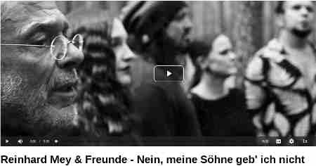 """Reinhard Mey & Freunde - Nein, meine Söhne geb' ich nicht Shared September 29, 2020 Alle Beteiligten Künstlerinnen und Künstler haben mit ihrem Gesang, ihrer Kunst und ihrem Handwerk aus Idealismus und persönlichem Engagement dieses einmalige Projekt verwirklicht...ein Geschenk...das wir Euch nun weiterschenken: ...in der Reihenfolge ihres Auftritts - wirkten bei den Aufnahmen und dem Video mit: Moira Serfling (Sängerin der Hamburg Pop-Duos """"Nervling""""), Silke Meyer (ehemals Violinistin bei """"Subway To Sally"""", jetzt bei """"Sidetrack""""), Holly Loose (Leadsänger der Band """"Letzte Instanz"""", nebenbei Komponist und Buchautor), Katja Moslehner (ehemalige Leadsängerin der Band """"Faun"""", jetzt als Solokünstlerin unterwegs), Eric Fish (Leadsänger der Band """"Subway To Sally"""", Initiator der Formation Eric Fish & Friends), Eric Burton (ehemaliger Profimusiker und heute Musikmanager, u.a. von Joachim Witt), Andreas Stitz (Leadsänger, Gründer und Songwriter der Band Leichtmatrose), Esther Jung (Solistin des Projekts """"Hamburg Singt"""", Teil des Projekts """"Sonja und Esther""""), Seraphina Kalze (klassisch ausgebildete Sängerin, Moderatorin bei Kabel Eins - Abenteuer Leben), Daniel Schulz (Solist (Der Schulz) und Leadsänger der Rockband """"Unzucht""""), B.Deutung (Cellist, Schauspieler und Musikproduzent), Joachim Witt (Ikone der """"Neuen Deutschen Welle"""" in der 80er Jahren, Sänger und Schauspieler), Luci Van Org (ehemals Sängerin der Gruppe """"Lucilectric"""", jetzt Solistin) und Ally Storch (Violinistin der Band """"Subway To Sally"""") und Reinhard Mey"""