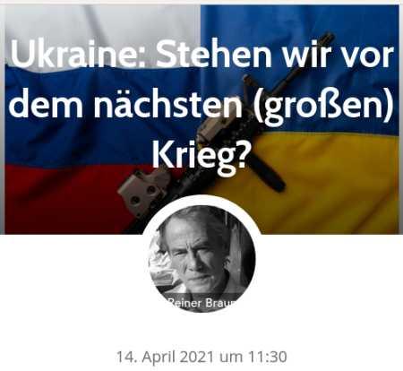 Ukraine: Stehen wir vor dem nächsten (großen) Krieg? von Reiner Braun - 14. April 2021 um 11:30Die Situation an der russisch-ukrainischen Grenze spitzt sich zu. EU-Europa folgt dabei fast bedingungslos der Konfrontationspolitik der USA und der NATO. Ein aktives Eintreten besonders von Deutschland und Frankreich für die gemeinsam erarbeiteten Ziele von Minsk2 ist nicht zu erkennen, statt dessen eine kampagnenhafte, geradezu primitive Verurteilung Russlands. Die Verantwortung für die jetzige Situation liegt bei der NATO, besonders bei den USA, aber auch bei der Bundesregierung. Die NATO-Politik ist Konfrontationspolitik, die durch die Unterstützung der aggressiven Kreise in der Ukraine kriegerische Auseinandersetzungen mindestens billigend in Kauf nimmt...