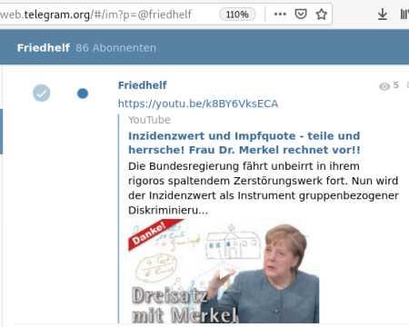 Inzidenzwert und Impfquote - teile und herrsche! Frau Dr. Merkel rechnet vor!! von Friedhelf - Shared April 29, 2021 - Die Bundesregierung fährt unbeirrt in ihrem rigoros spaltendem Zerstörungswerk fort. Nun wird der Inzidenzwert als Instrument gruppenbezogener Diskriminierung ins Feld geführt. Ungeimpfte, stellen sich gegen die Mehrheitsmeinung, führt die Kanzlerin aus, und treiben damit den Inzidenzwert nach oben, denn die Geimpften müssen überhaupt ganz aus der Inzidenzwert-Berechnung ausgenommen werden. Mit der Impfquote steige dann die Inzidenz, denn, so rechnet sie vor: Ziehe man bei einer Inzidenz von 100 z.B. 50% Geimpfte ab, wäre der Inzidenzwert dann schon 200 - eine ernstzunehmende Bedrohung für das Gesundheitssystem! Dass es für eine individuelle Entscheidung gegen das kollektive Wir der Impfenbefürworter keine Freiheiten geben könne, wurde implizit aus ihren Worten Deutlich. Freiheit gibt es nur für gefügige Bürger...