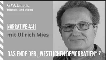 """Narrative #41 - Ullrich Mies: Das Ende der """"westlichen Demokratien""""? Ein Resümee, in dem es gilt, auch das vergangene Jahr zu beleuchten, als dessen Hauptakteure Corona, Angstproduktion und Spaltung der Bevölkerung aufzuführen wären. Welche Rolle spielen dabei die alten Medien und welche werden die neuen Medien innehaben in unserer weiteren Gesamtentwicklung? Und wie könnte diese überhaupt aussehen? Mies ist Herausgeber von Büchern und schreibt für den """"Demokratischen Widerstand"""", Rubikon, KenFM, die Neue Rheinische Zeitung, """"Gesond Verstand"""" (NL). Zusammen mit zahlreichen Autoren geht der Publizist und Autor diesen und anderen Fragen nach..."""