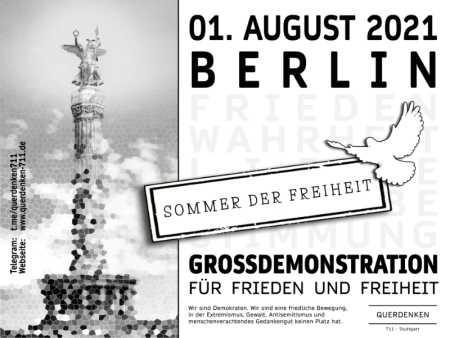 ...am Sonntag, den 01.08.2021 findet die erste große Demonstration von Querdenken711 in Berlin im Jahr 2021 statt. Das ist die Chance der LINKEN, die Brücke vom Parlament zu denen zu schlagen, die seit Monaten versuchen, die parlamentarische Demokratie zu retten. Es ist an der Zeit!...