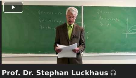 """Prof. Dr. Stephan Luckhaus [Auszug transkribiert, CG]: """"[…] Zur Leopoldina: Die beiden englischen Artikel, von denen ich sprach, waren eine Auftragsarbeit für die Leopoldina […]. Die Ergebnisse und Schlussfolgerungen waren aber nicht genehm. Der prospektive Gutachter, ein Kollege aus der Virologie, den ich ansonsten sehr schätzte, schlug mir allen Ernstes vor: Warten Sie mit der Publikation ein paar Monate, denn der Artikel stehe im Widerspruch zur Stellungnahme der Gesellschaft für Virologie. Ich habe dann gebeten, die deutsche Kurzfassung über den eMail-Verteiler der Leopoldina als meine persönliche Stellungnahme an die Mitglieder zu verteilen. Das wurde abgelehnt: Datenschutz. In der Max-Planck-Gesellschaft (MPG) habe ich ähnliches erlebt. Als jetzt die große Impfkampagne kam, schrieb ich den Mitarbeitern des MPI Mathematik in den Naturwissenschaften, wo ich auswärtiges Mitglied war, und wies sie darauf hin, dass die Impfstoffe bisher nur eine Notzulassung [bedingte Zulassung in der EU, Notfallzulassung in USA; Anm. CG] haben und was das bedeutet. Der Kollege […] meinte daraufhin, mir eine Art Abmahnung schicken zu dürfen: Dissens sei natürlich erlaubt, aber er wolle sich mit mir über die Außenwirkung unterhalten, und er hatte auch schon mit der Expertin für Kommunikation in der Zentralverwaltung konferiert. Die beiden anderen Direktoren, gute Bekannte seit 30 beziehungsweise 40 Jahren, haben das ebenfalls abgelehnt, meine Ergebnisse als Ergebnisse, die am Institut entstanden sind, nach außen zu tragen. Das gibt eine ungefähre Vorstellung, was sich hinter der Vokabel 'Konsens in der Wissenschaft' verbirgt. Ich bin aus Leopoldina und MPG ausgetreten. Ich bin anscheinend doch kein Konsenstyp..."""